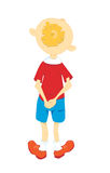 Boy in a red shirt. Little boy in a red shirt stands back Stock Illustration