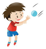 Boy in red shirt catching blue ball. Illustration Stock Photography