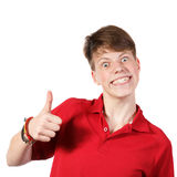 Boy in red shirt showing thumbs up Stock Photo