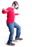 Boy in red shirt with virtual reality glasses Stock Photos