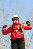 Boy in the red suit Royalty Free Stock Photography