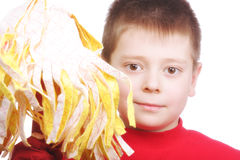 Boy in red with swab Royalty Free Stock Photography