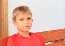 Boy in red t-shirt. Little boy - serious boy in red t-shirt Royalty Free Stock Photo