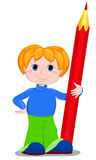 The boy and redpencil. Royalty Free Stock Photos