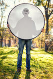 Boy with reflector Royalty Free Stock Photography