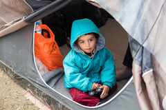 Boy in refugee camp in Greece Stock Image