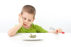 Boy refuses to eating Stock Images