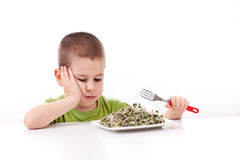 Boy refuses to eating Royalty Free Stock Photos