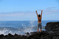 The boy rejoices sea elements Royalty Free Stock Photos