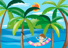 Boy relaxing at sea. Illustration Royalty Free Stock Photography