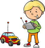 Boy and remote car cartoon. Cartoon Illustration of Cute Boy with Remote Toy Car Royalty Free Stock Photo
