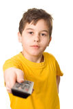 Boy with remote control Stock Photo
