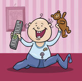 Boy with remote control and teddy bear stock images