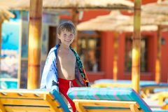 Boy at resort Royalty Free Stock Images