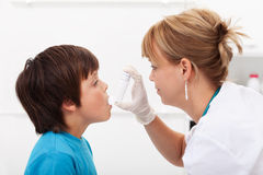 Boy with respiratory illness Stock Photography