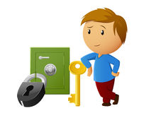 Boy rest with key and locked safe on background Royalty Free Stock Image