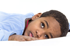 Boy resting in his bed Royalty Free Stock Photos