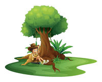 A boy resting under the tree. Illustration of a boy resting under the tree on a white background Stock Photos