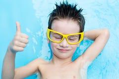 Boy in aquapark Stock Photos