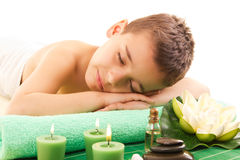 Boy rests with spa royalty free stock photography