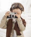 boy with retro camera Royalty Free Stock Photography