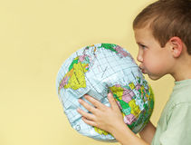 Boy reviving earth royalty free stock image
