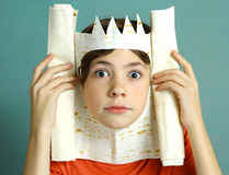 Boy rich imagination acting king with pita bread Royalty Free Stock Photo