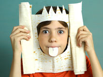 Boy rich imagination acting king with pita bread Stock Photo