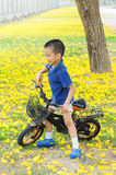 Boy ride bicycle in a park Stock Photography