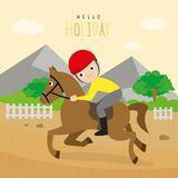 Boy Ride Racehorse Sport Outdoor Cartoon Character Vector. Design Background Royalty Free Stock Image