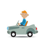 The boy rides in the car Royalty Free Stock Photography