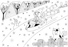 The boy rides from the ice mountain with the dog. Snowman and ca stock illustration