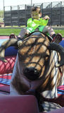 A Boy Rides a Mechanical Bull, Fort Worth Stockyards Stock Photo