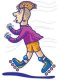 Boy rides on roller skates Stock Photos