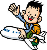Boy riding on an airplane Stock Image