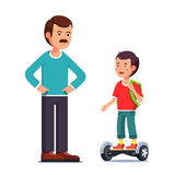 Boy riding a balancing electric gyroboard scooter. Teenager boy riding a standing modern and futuristic self-balancing electric gyroboard scooter in from of his royalty free illustration