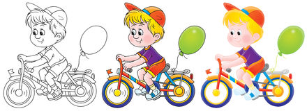 Boy riding a bicycle. Little boy rides a bicycle (3 versions of the illustration royalty free illustration