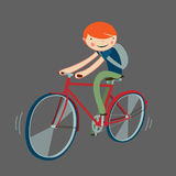 Boy riding bicycle. Cartoon character isolated. vector illustration Royalty Free Stock Images