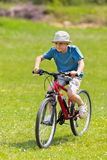Boy riding a bicycle on grass field Stock Photography