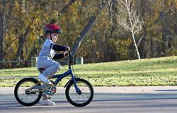Boy riding bicycle at park. A six year old boy rides his bicycle at a park on a sunny afternoon. He is wearing a safety helmet and a gray sweatsuit Stock Photography