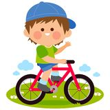 Boy riding a bicycle at the park. Happy little boy riding a bicycle at the park. Vector illustration vector illustration