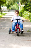 Boy riding a bicycle in the park Royalty Free Stock Images