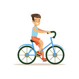 Boy Riding Bicycle, Traditional Male Kid Role Expected Classic Behavior Illustration Royalty Free Stock Photography