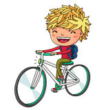 Boy riding a bicycle. Vector. Royalty Free Stock Image