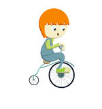 Boy riding bicyle. Coloured illustration about a red haired boy riding his bicycle on white background Stock Photos