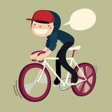Boy riding bike cartoon character. Hipster rider saying. vector illustration Royalty Free Stock Photo