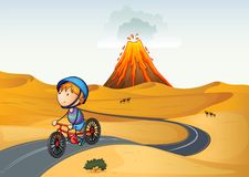 A boy riding a bike in the desertftp.depositphotos.cominteractim. Illustration of a boy riding a bike in the desert Stock Images