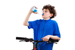 Cyclist drinking water isolated on white background Royalty Free Stock Photography