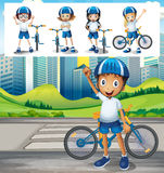 Boy riding bike in park. Illustration Stock Photos