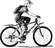 Boy riding a bike Stock Image